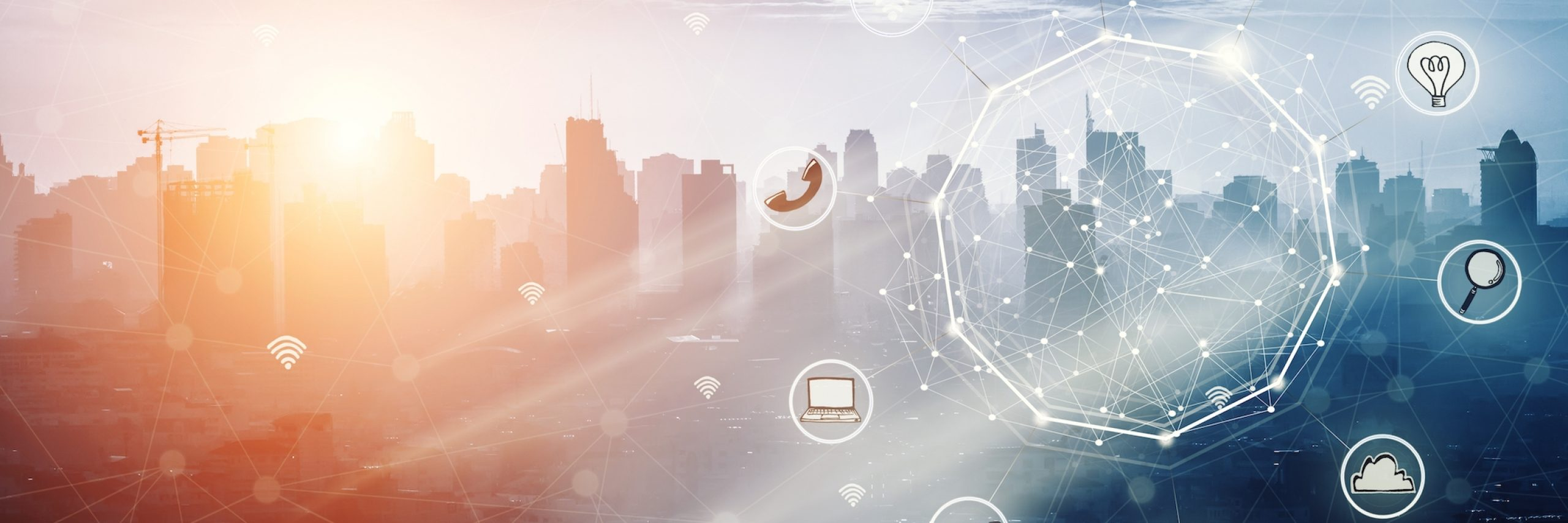 Smart city and wireless communication network, abstract image visual, E-commerce smart connection business. internet of things .